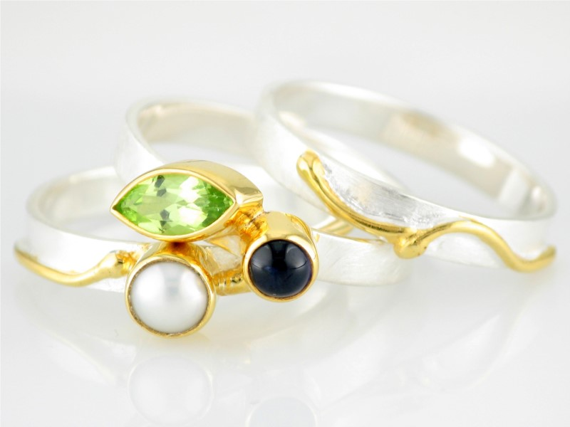 Sterling Silver & 22Kt Vermeil Overlay & Colored Stones by Michou